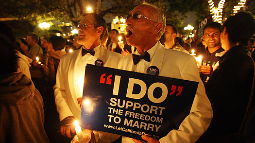 Same-sex-marriage supporters rally on the eve of a state Supreme Court hearing on Proposition 8 on March 4, 2009, in Los Angeles