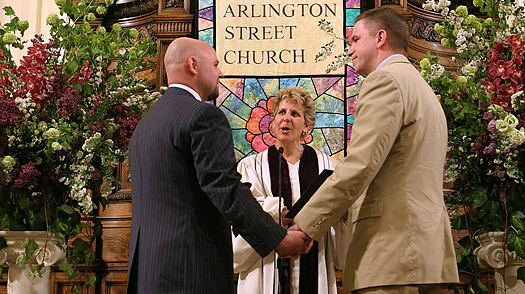 A gay couple is married at Arlington Street Church in Boston.