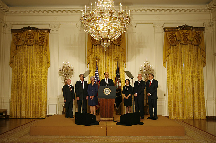President Barack Obama announces his healthcare team in the East Room of the White House.