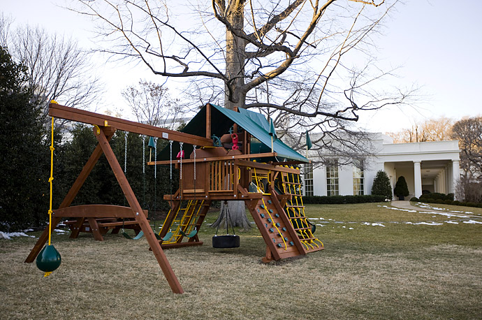 A new play structure for the Obama children sits outside the Oval Office on the South Lawn of the White House.
