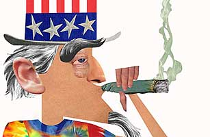Illustration of Uncle Sam smoking marijuana.