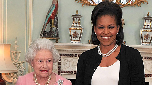 Queen Elizabeth II, left, and Michelle Obama at Buckingham Palace