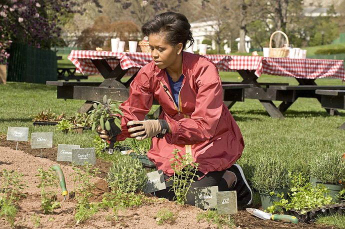 First Lady Michelle Obama in the White House garden in Washington DC April 9, 2009.