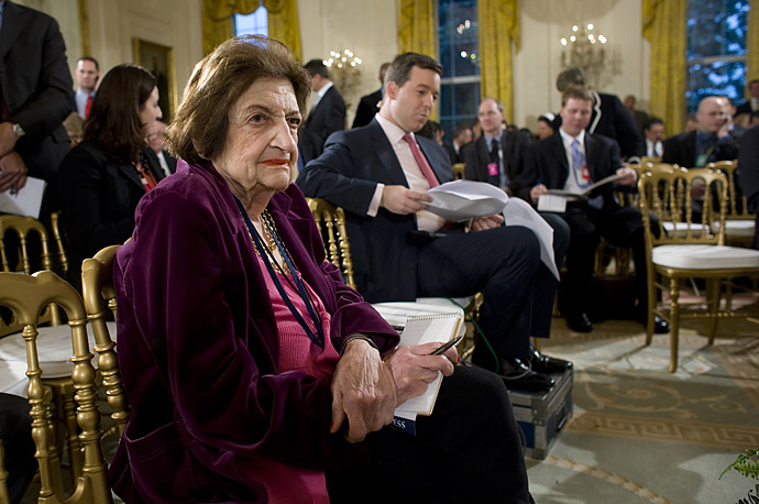 Reporter Helen Thomas, who has covered every president since John F. Kennedy takes her front row seat at Obama's April 29 press conference.