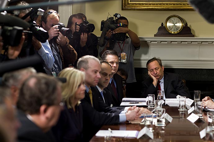 Director of the White House's National Economic Council, Larry Summers, participates in administration talks with representatives of the credit card industry in the White House's Roosevelt Room. larry summers falls asleep