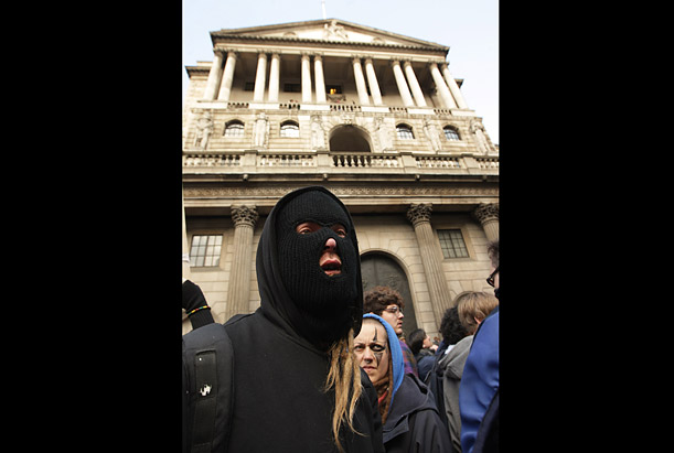 Demonstrators would attack the Royal Bank of Scotland with missiles and entered the building in the City after clashes with police at the Bank of England