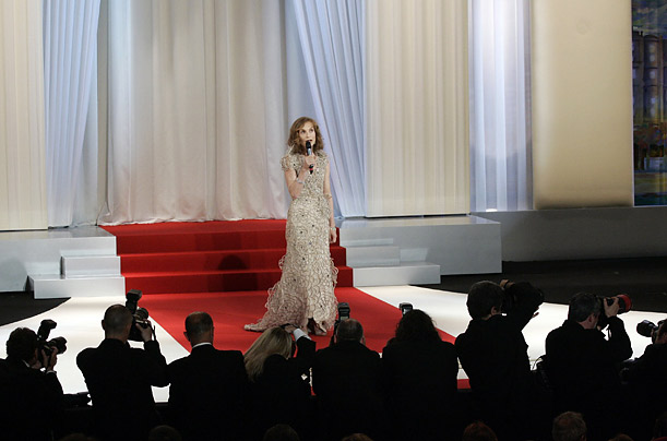 French actress and President of the Jury Isabelle Huppert speaks on stage during the opening ceremony of the Film Festival.
