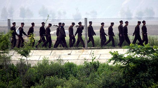 North Korea. North Korean soldiers march