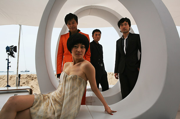 Chinese actors, (from left) Chen Sicheng, Tan Zhuo, Qin Hao and Wu Wei pose during the photocall for their movie <span style='font-style: italic'>Chun Feng Chen Zui De Ye Wan</span> (<span style='font-style: italic'>Spring Fever</span>).