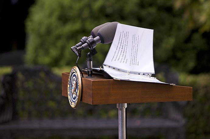 President Obama's speaking notes sit on the podium before he arrived at a ceremony honoring the 2009 NCAA basketball champions, University of North Carolina Tar Heels.