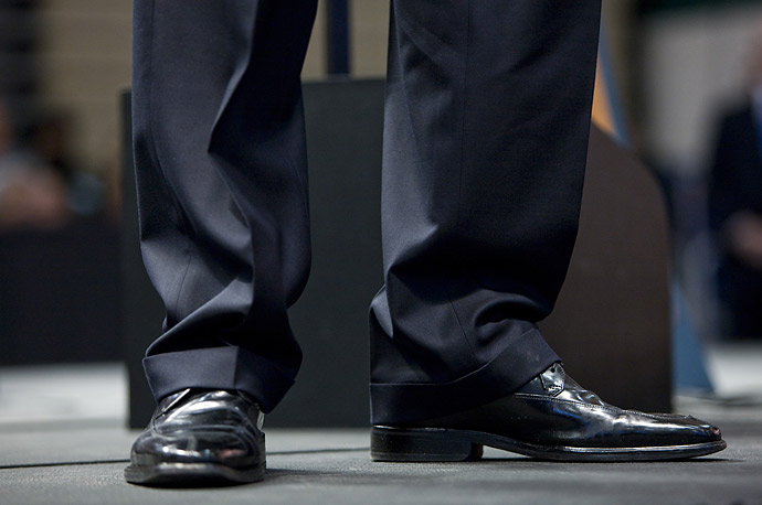 President Barack Obama's feet during a townhall meeting at Rio Rancho High School in Rio Rancho, New Mexico.