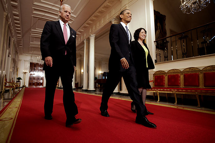 President Obama and Vice President Biden escort his Supreme Court choice Judge Sonia Sotomayor to the East Room of the White House before announcing her nomination.