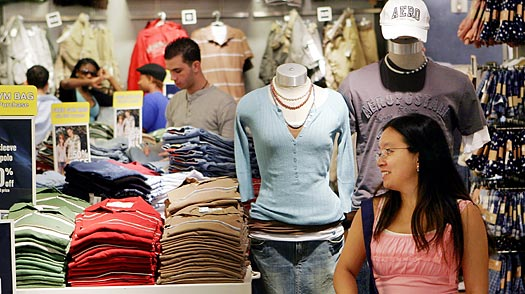 Shoppers browse in an Aeropostale clothing store in New York