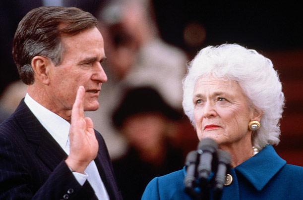 President George H.W. Bush took the Oath of Office on January 20