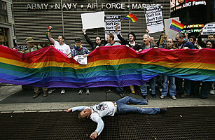 Members of ACT UP (AIDS Coalition to Unleash Power) demonstrate against the Defense Department's
