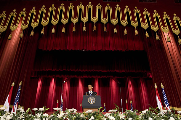President Obama speaks in the Grand Hall of Cairo University in Cairo