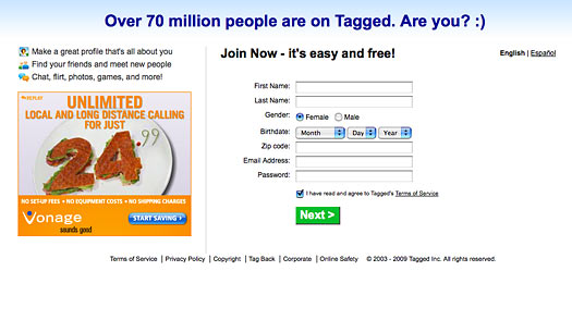 tagged.com website
