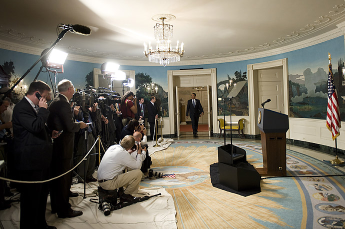 Journalists prepare as President Barack Obama announce nominate US Congressman John McHugh for Secretary of the Army Diplomatic Room of the White House in Washington, DC.