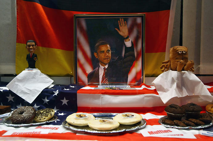 A bakery in Weimar, Germany celebrates U.S. President Barack Obama's visit with flags, photos and baked goods.