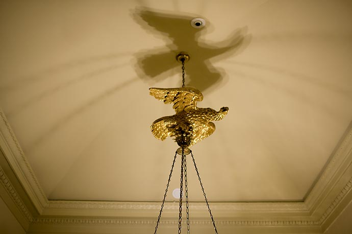 A portion of this chandelier outside the Oval Office takes the form of a bald eagle.