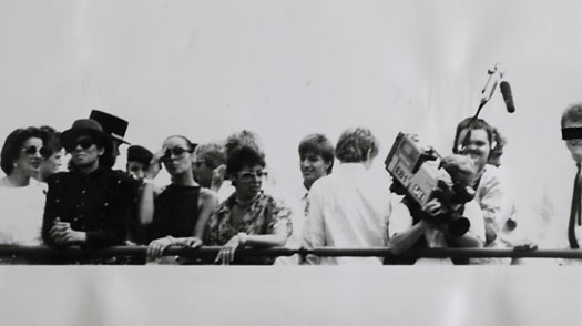 Germany's Stasi secret police had Michael Jackson under surveillance when he visited West Berlin in 1988, snapping this photo of a man they thought was the pop star (front row, second from left) but has since been revealed as a look-alike.