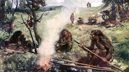 A painting imagines the world of Neanderthal men
