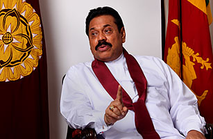 Sri Lankan President Mahinda Rajapaksa during the interview in Colombo with TIME on July 10