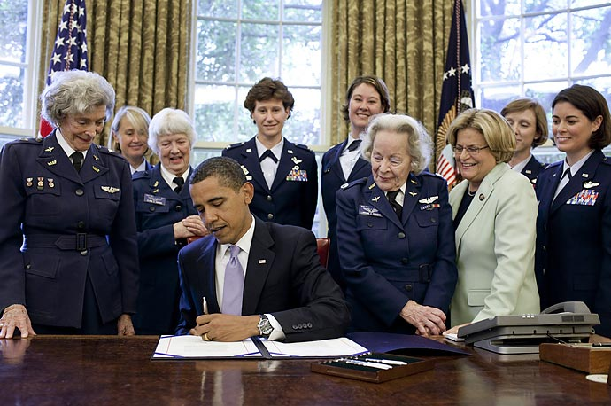 President Obama signs S.614, a bill to award a Congressional Gold