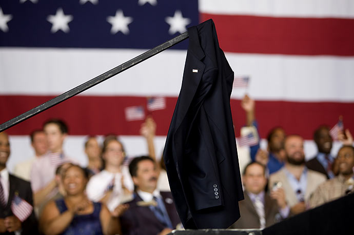 President Obama's suit jacket hangs on a stage railing, during a rally in Holmdel, NJ.