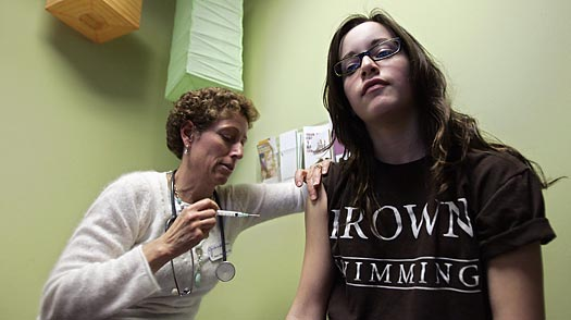 A nurse administers a shot of Gardasil — a vaccine for HPV, or human papillomavirus — to a 14-year-old patient