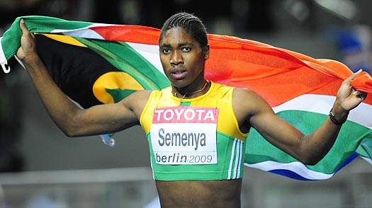 Caster Semenya celebrates winning the women's 800m final race at the 2009 IAAF Athletics World Championships in Berlin.