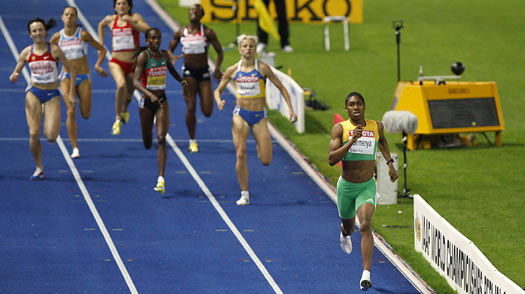 South Africa's Caster Semenya, right, wins the gold medal in the final of the women's 800 m during the World Athletics Championships in Berlin