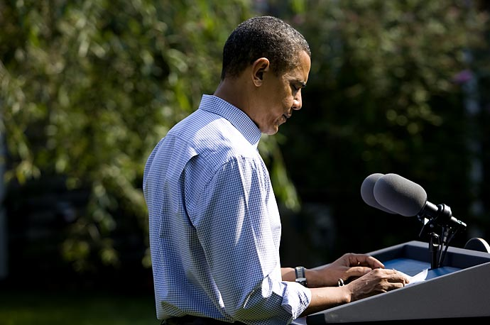 President Obama speaks to the press following the death of Senator Ted Kennedy in Martha's Vineyard.