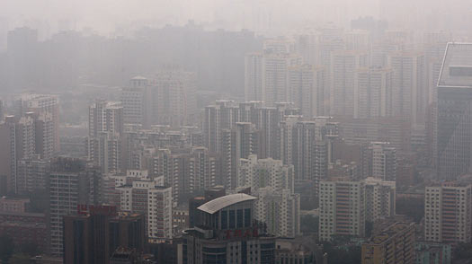 A thick smog settles over Beijing.