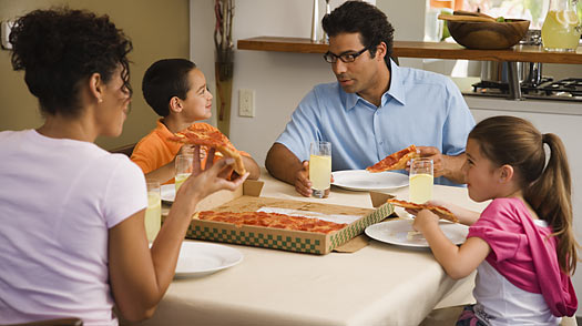 Family eating pizza family food choices working parents