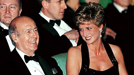 Former French President Valery Giscard d'Estaing with Diana, Princess of Wales, in 1994