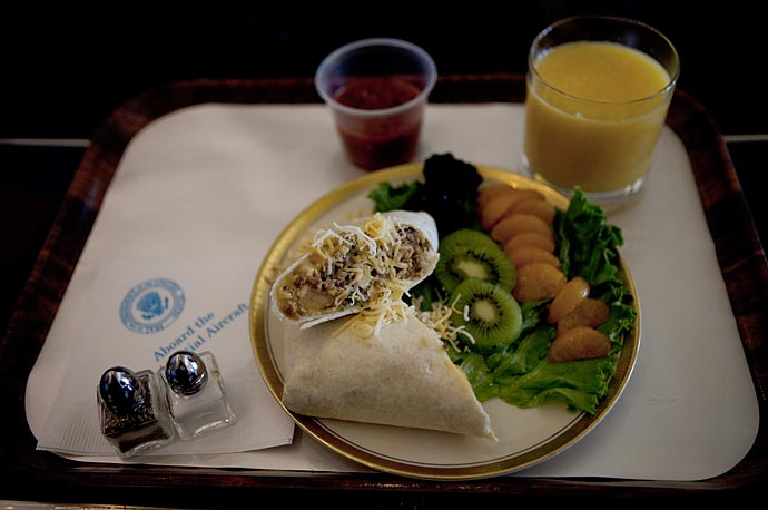 A breakfast burrito is served aboard a morning flight on Air Force One.