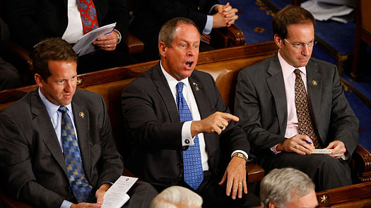 Rep. Joe Wilson (R-SC) shouts as U.S. President Barack Obama addresses a joint session of the U.S. Congress on Sept. 9, 2009
