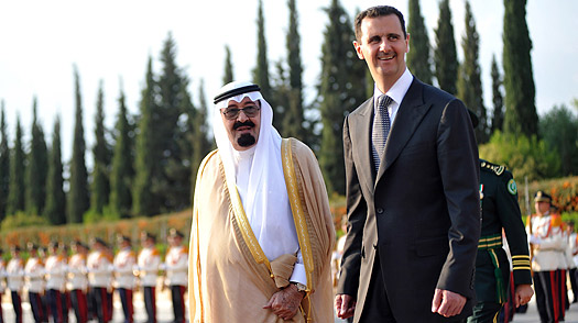 Saudi Arabias King Abdullah, left, and Syrian President Bashar Assad at al-Shaab palace in Damascus on Oct. 7, 2009