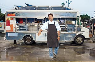 Chef Choi and his Kogi Korean-BBQ taco truck: gourmet dining at recession-proof prices via Twitter alerts.