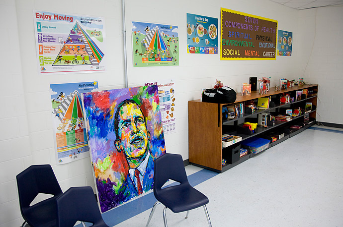 A portrait of President Barack Obama at the Dr. Martin Luther King Charter School in the Lower 9th Ward of New Orleans, Louisiana.