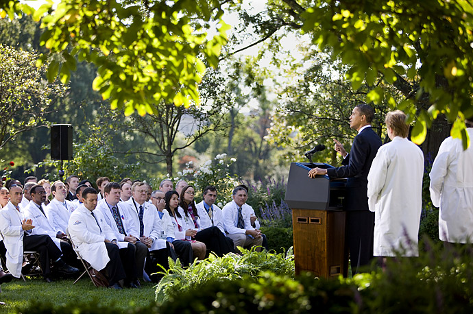 President Obama speaks to doctors and medical workers about health care reform in the Rose Garden of the White House in Washington.