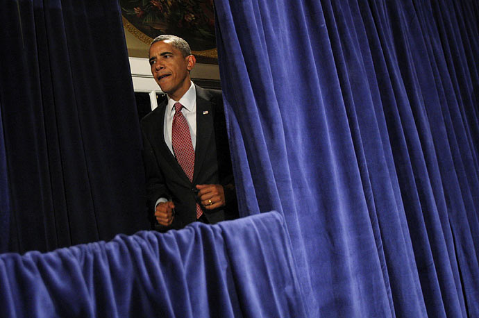 President Obama arrives to speak at a fundraiser for the Democratic Governors Association in Washington.