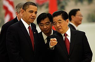 President Obama meets with Chinese President Hu Jintao in Beijing.