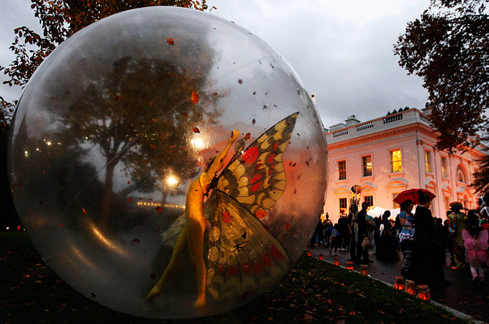 Halloween celebrations on the North Lawn of the White House on October 31, 2009.