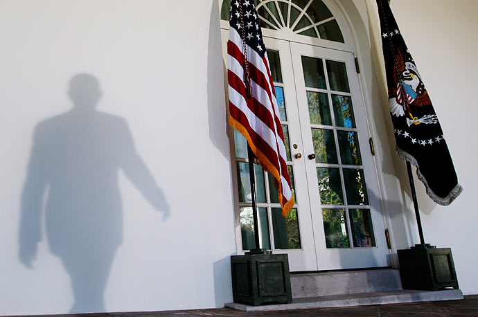 President Obama walks to the podium in the Rose Garden to speak about the shooting in Fort Hood, Texas.