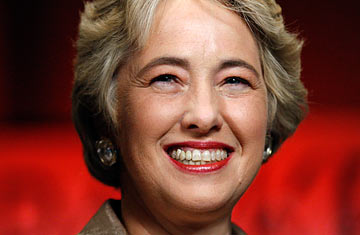 Incoming Houston mayor Annise Parker smiles at a campaign celebration in ...