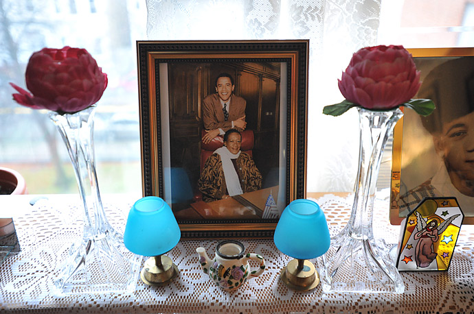 a framed photograph of President Obama and his aunt, Zeituni Onyango, taken when he was an Illinois state senator, sits in her home in Boston.
