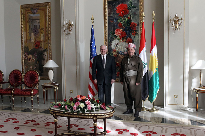 Secretary of Defense Robert Gates stands with the President of the Kurdistan Regional Government Masud Barzani at his residence in Irbil, Iraq.