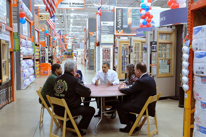President Obama holds a meeting with labor, manufacturing, and small business leaders to discuss the economic impact